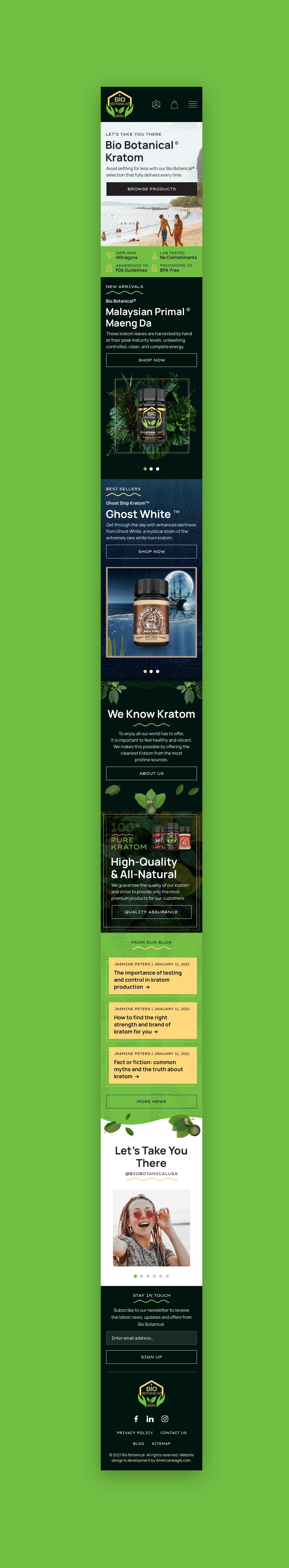 Bio Botanical Mobile Homepage