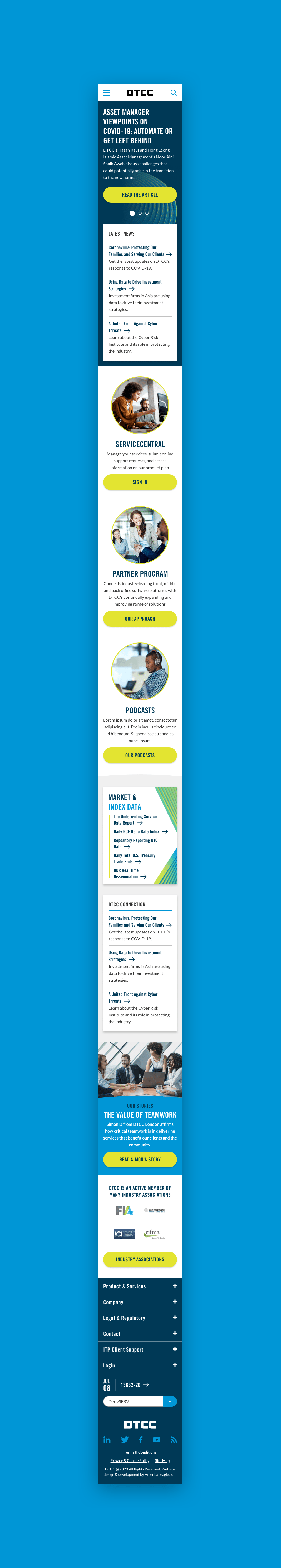 DTCC Mobile Homepage