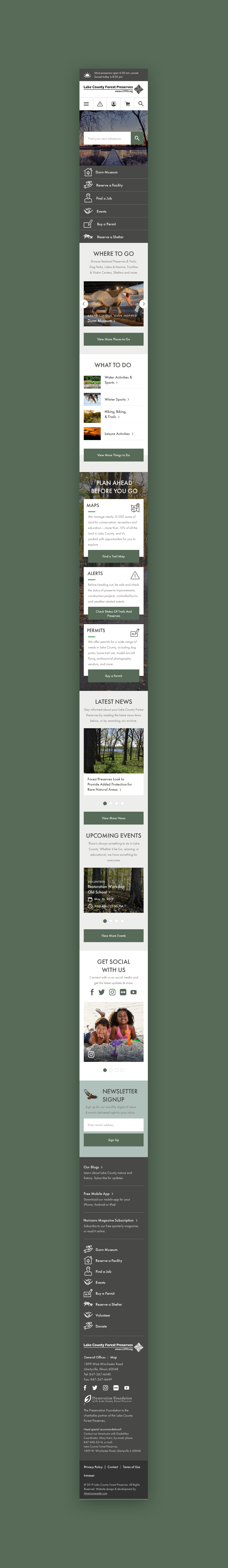 Lake County Forest Preserves Mobile Homepage