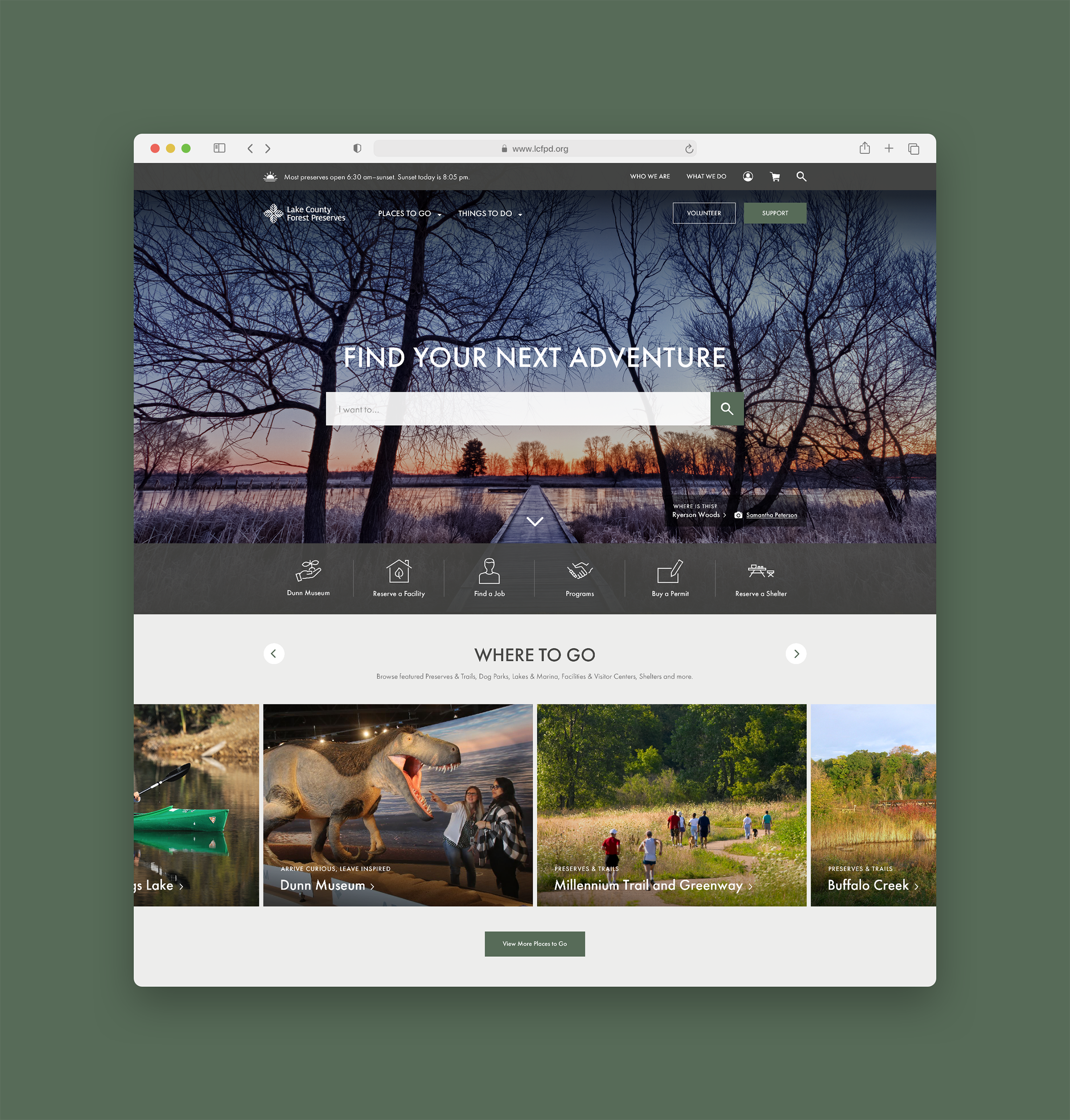 Lake County Forest Preserves Website