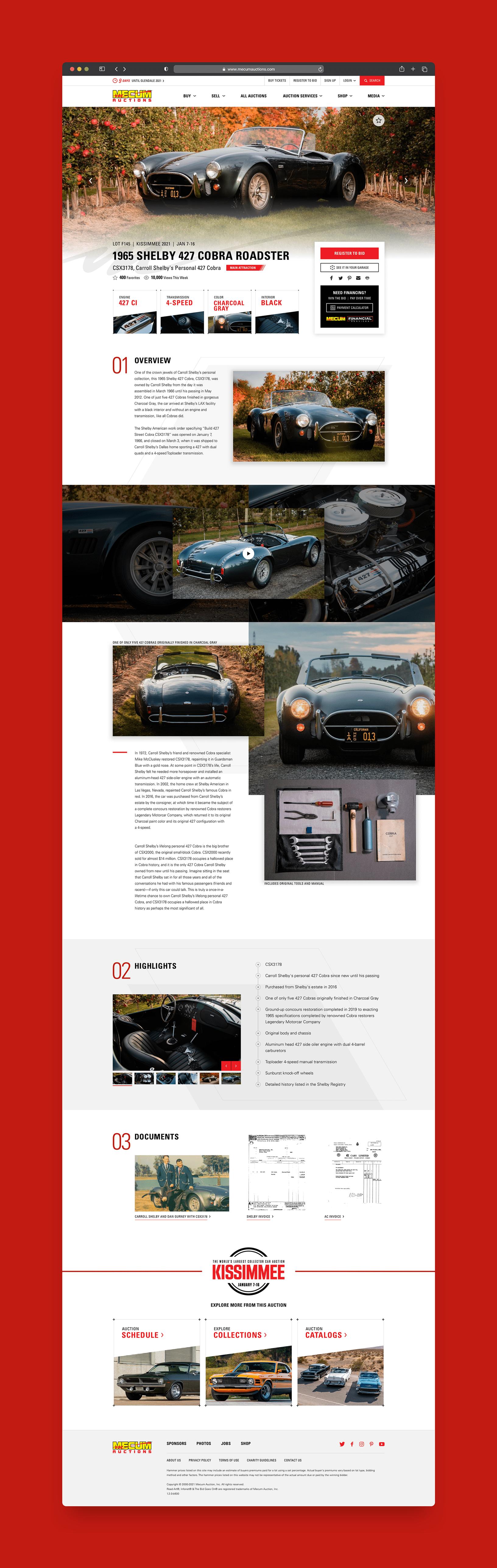 Mecum Premium Auction Detail Page Light
