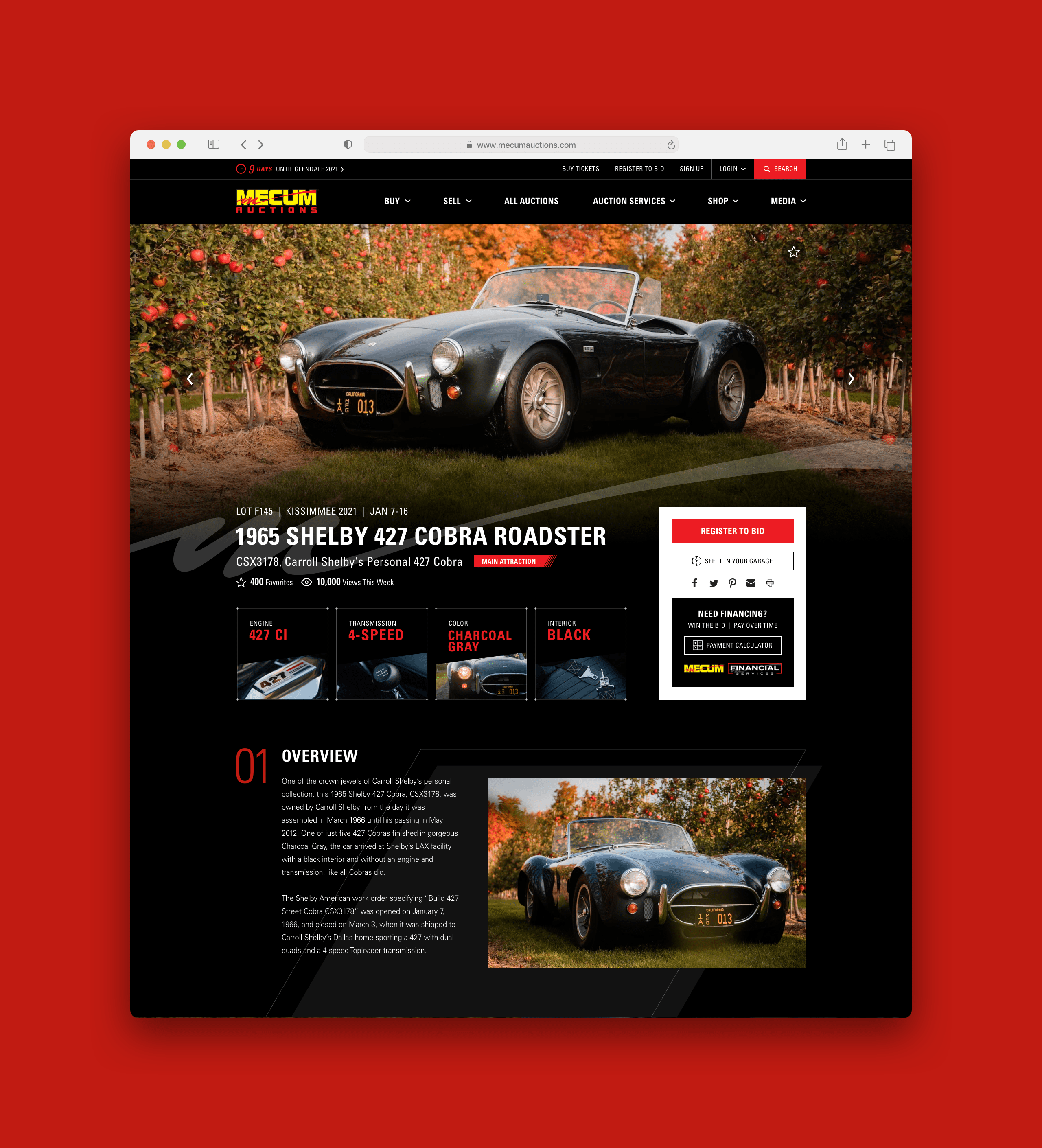 Mecum Premium Auction Detail Page Zoomed