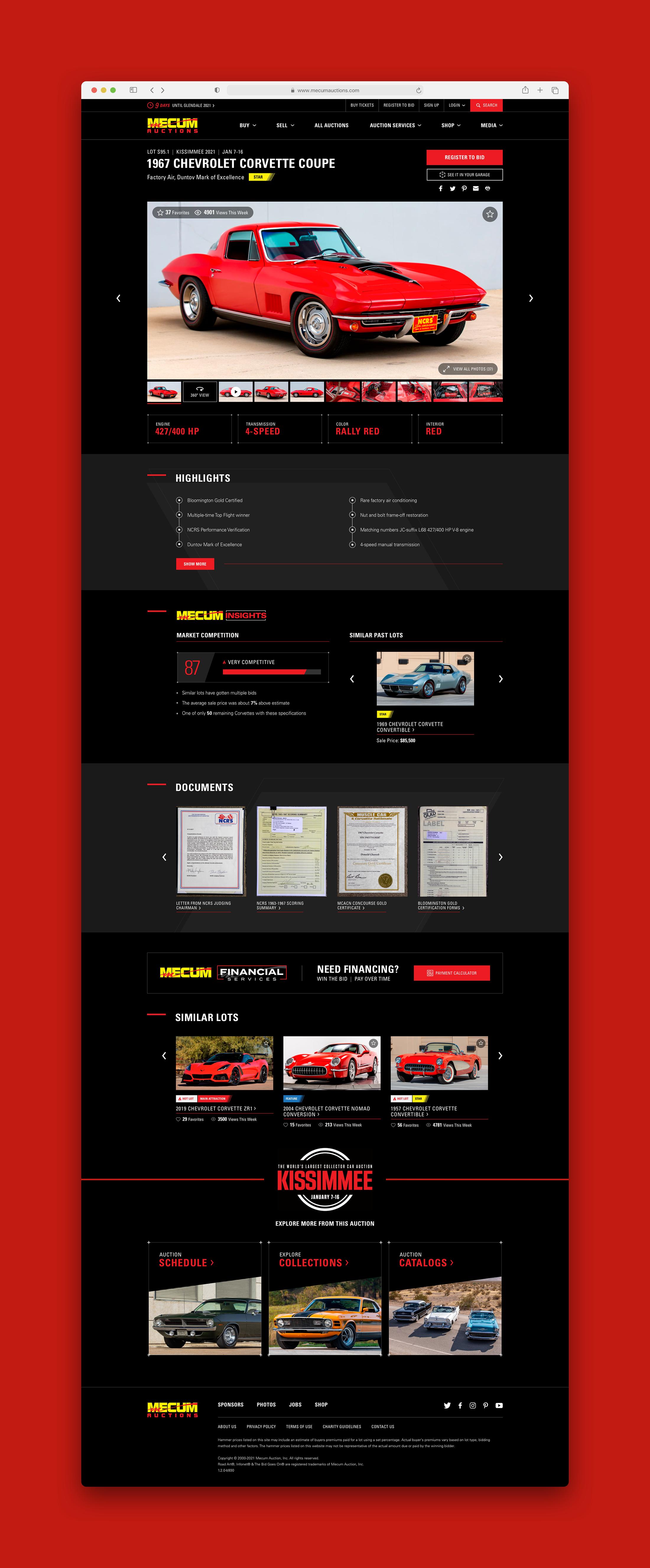 Mecum Standard Auction Detail Page
