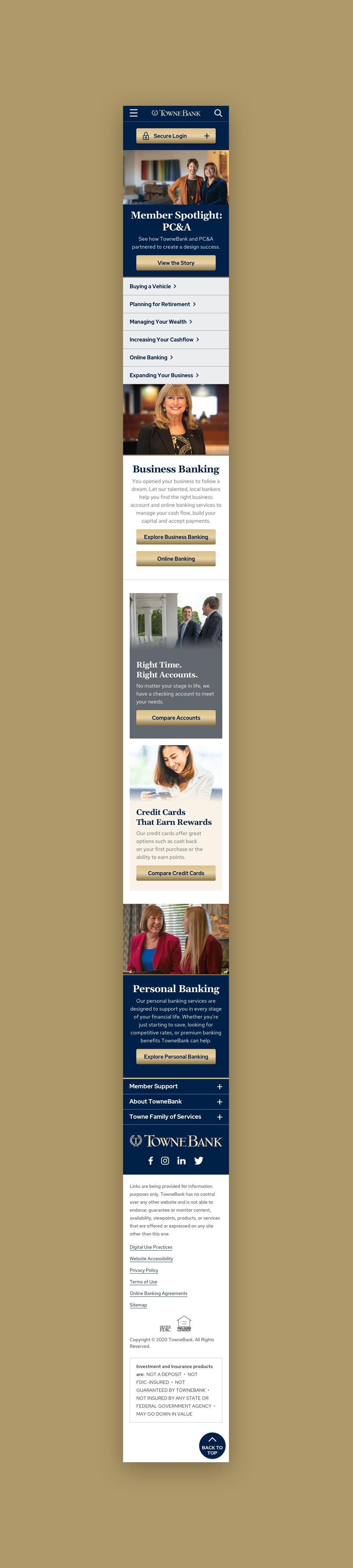 TowneBank Mobile Homepage
