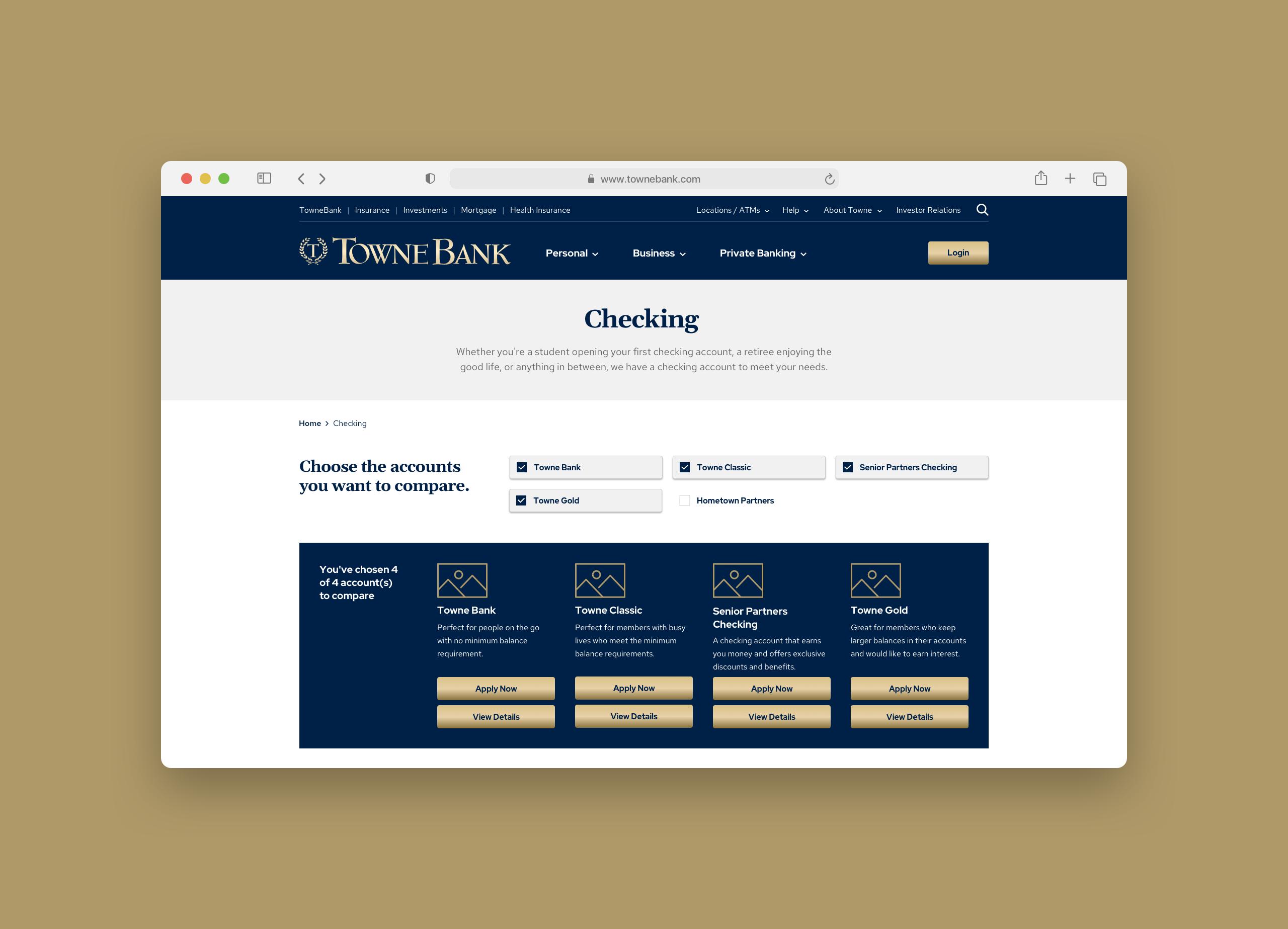 TowneBank Product Comparison Zoom
