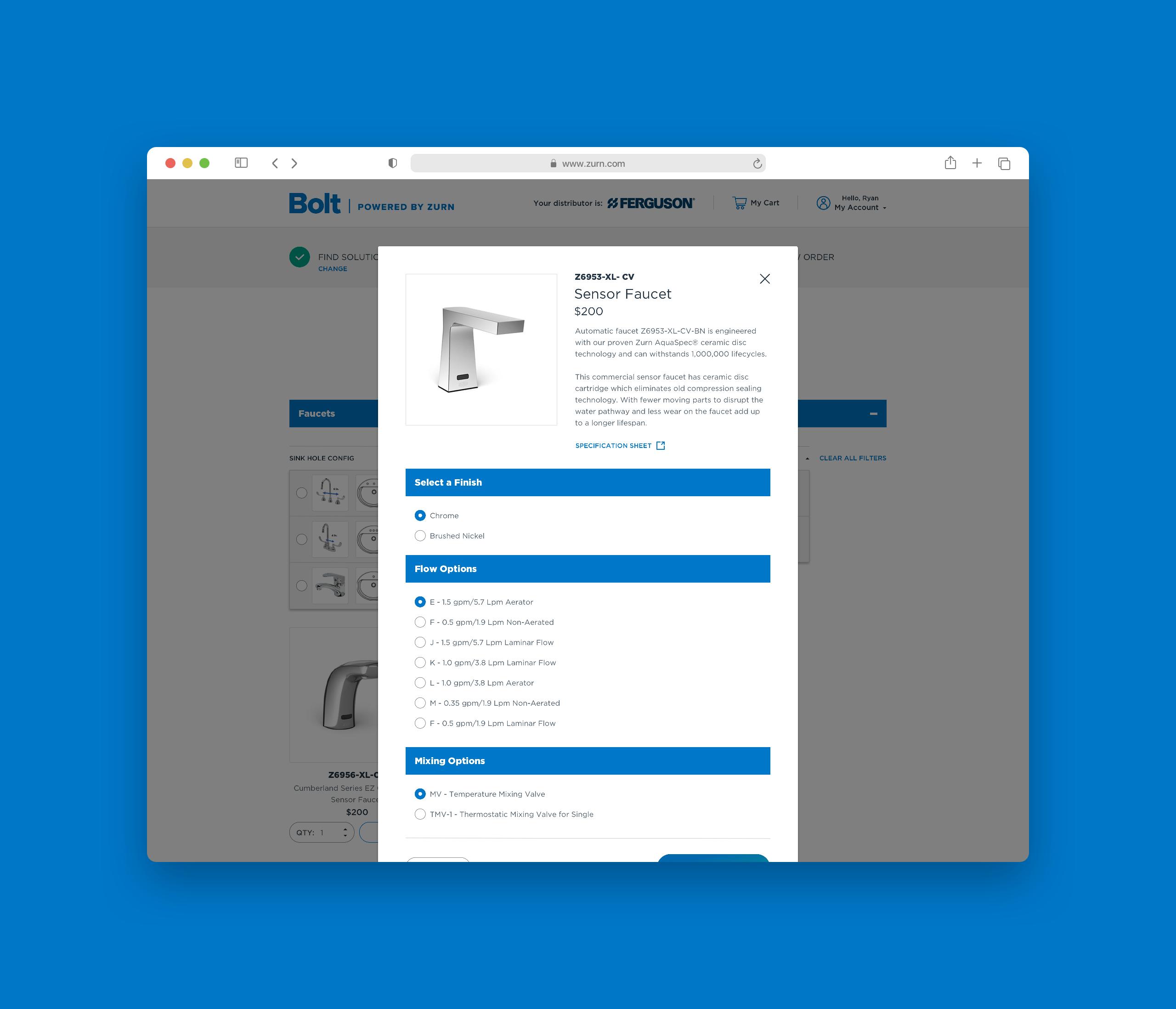 Zurn Advanced Product Options Modal