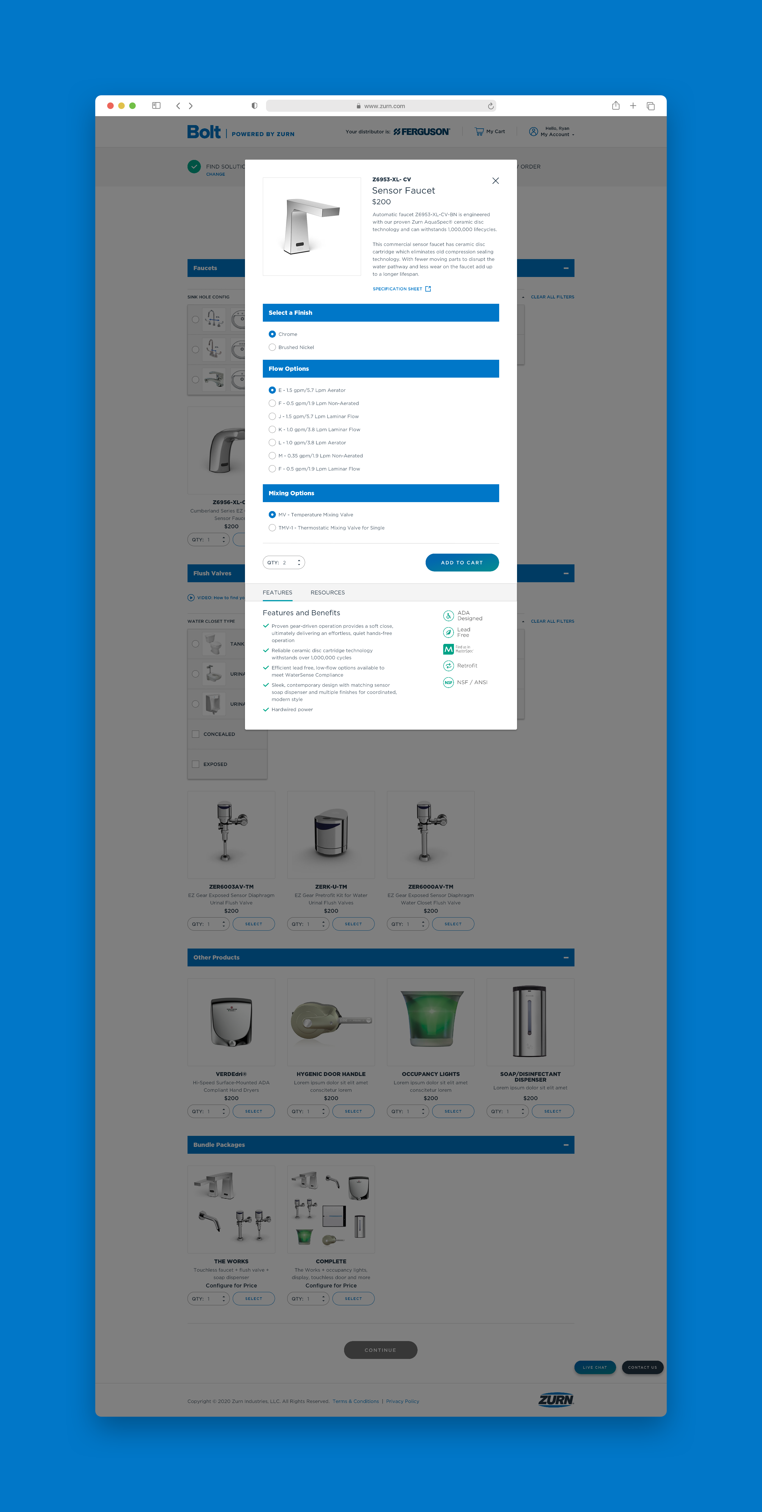 Zurn Advanced Product Options Modal Full