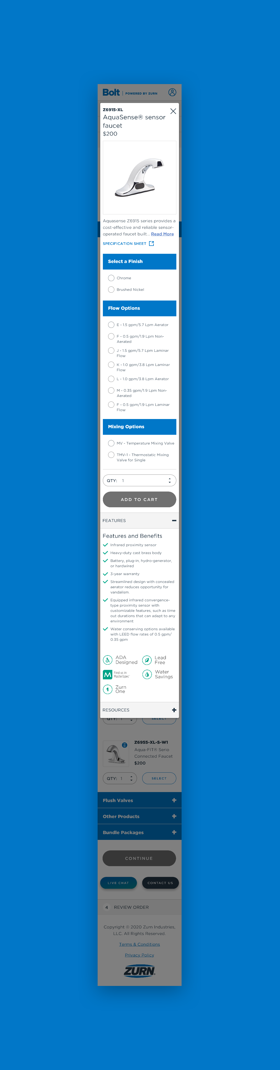 Zurn Mobile Advanced Product Options Modal