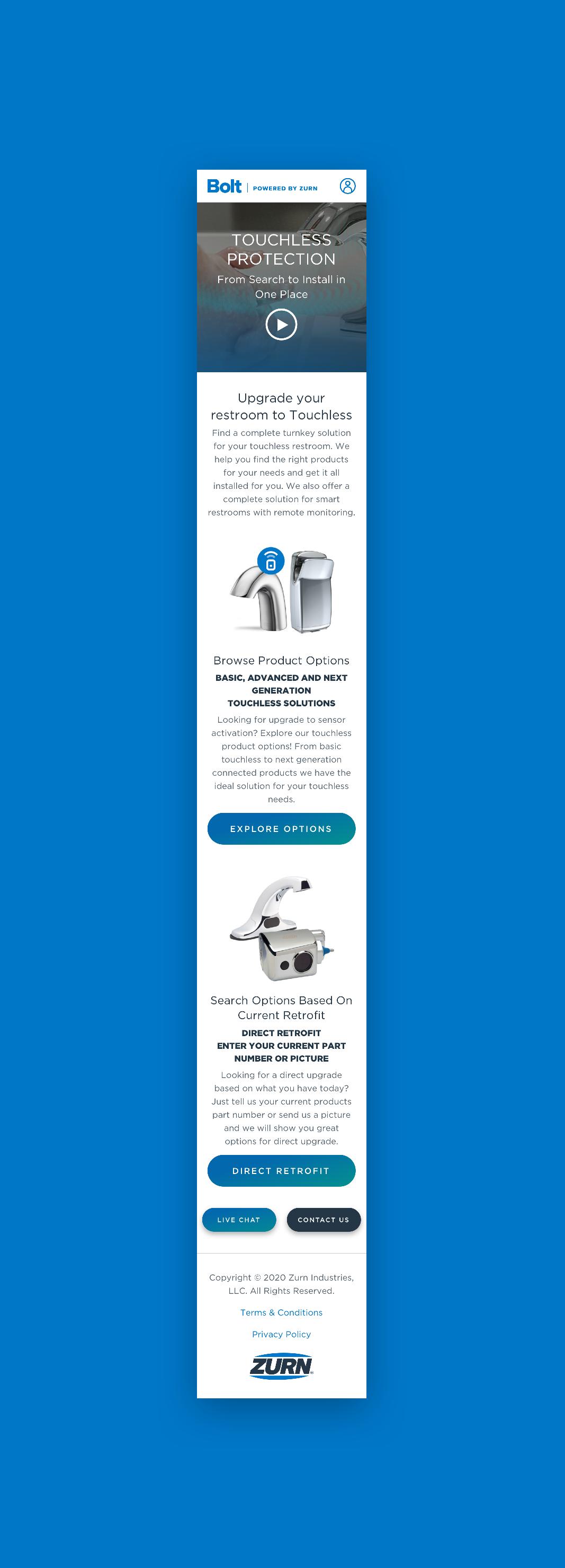 Zurn Mobile Homepage